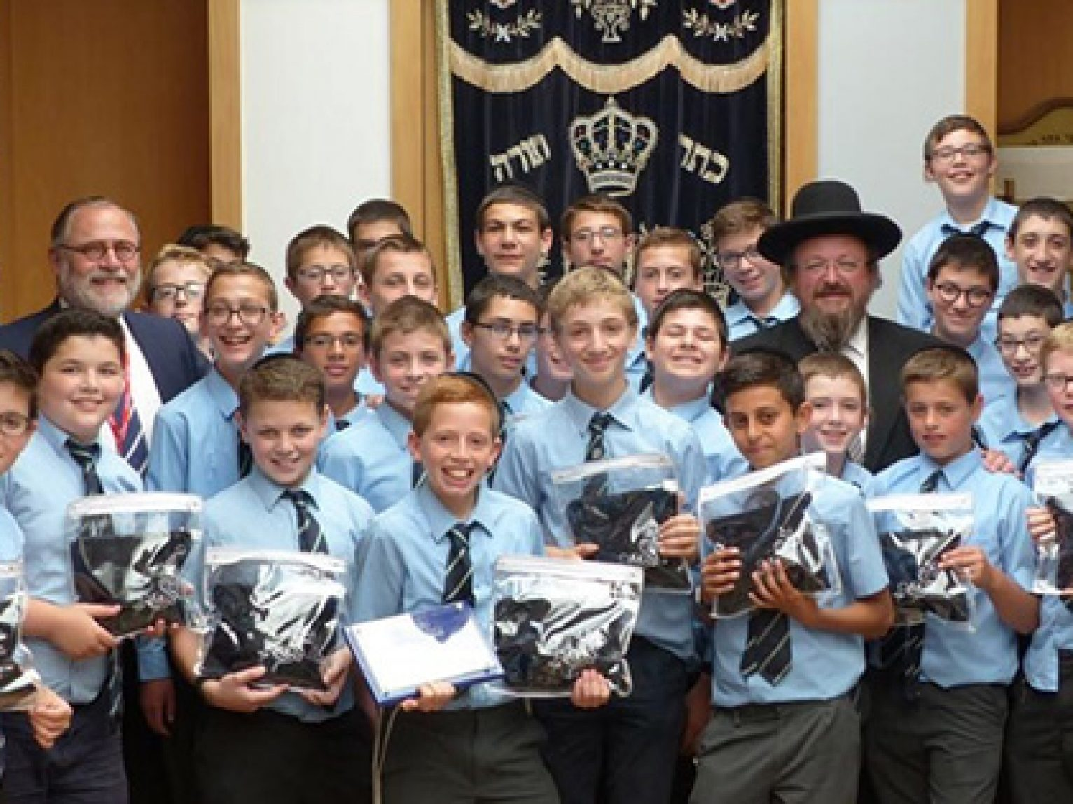 Menorah Grammar Boys Donate Tefillin